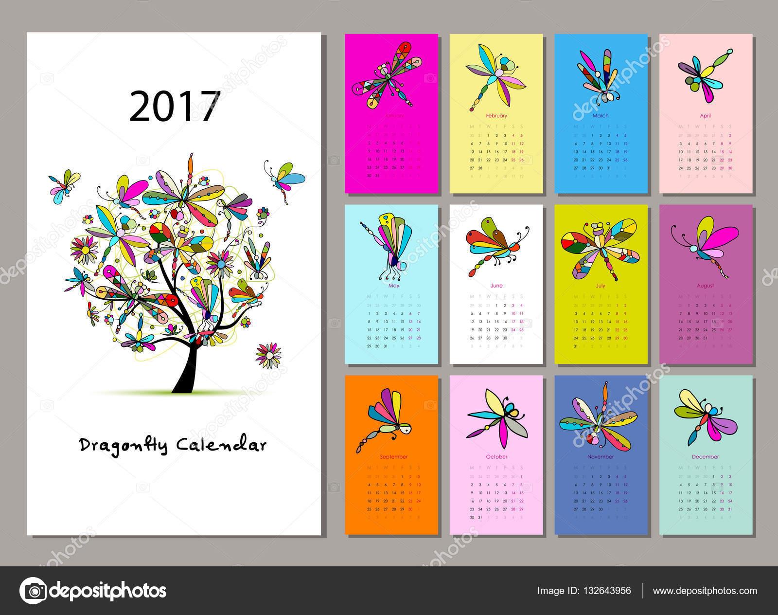 Dise o de lib lula calendario 2017 vector de stock - Disenos de calendarios ...