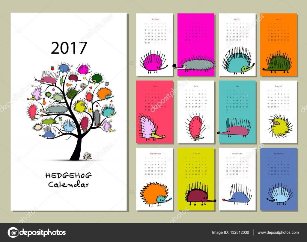 Erizos divertidas dise o de calendario 2017 vector de - Disenos de calendarios ...