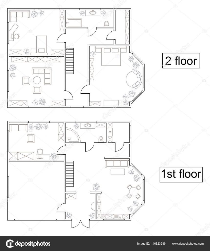 Plan de vecteur abstraite des premier et deuxième étage dune maison de deux étages avec des meubles vue de dessus cuisine séjour chambre