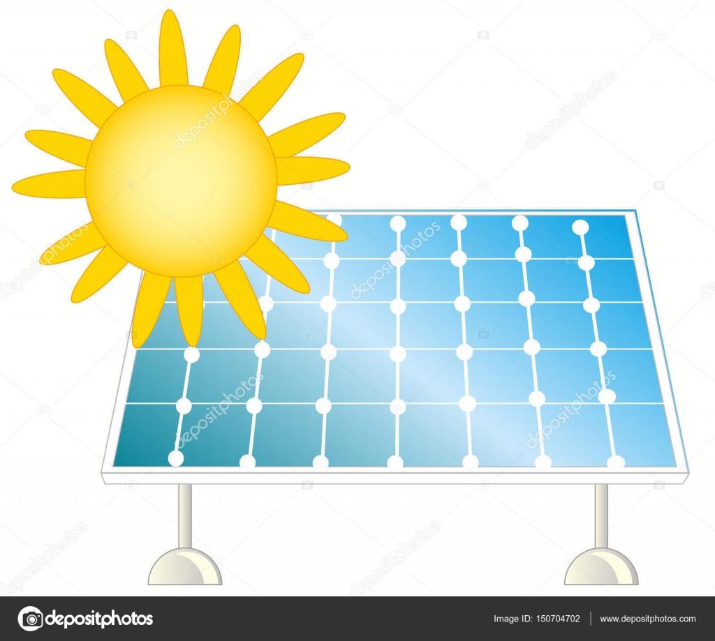 太阳和太阳能电池板 — 图库矢量图片#150704702
