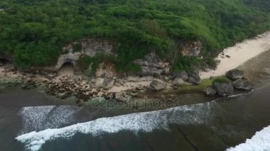 Aerial View of the Ocean Coast, Cliff and Beach