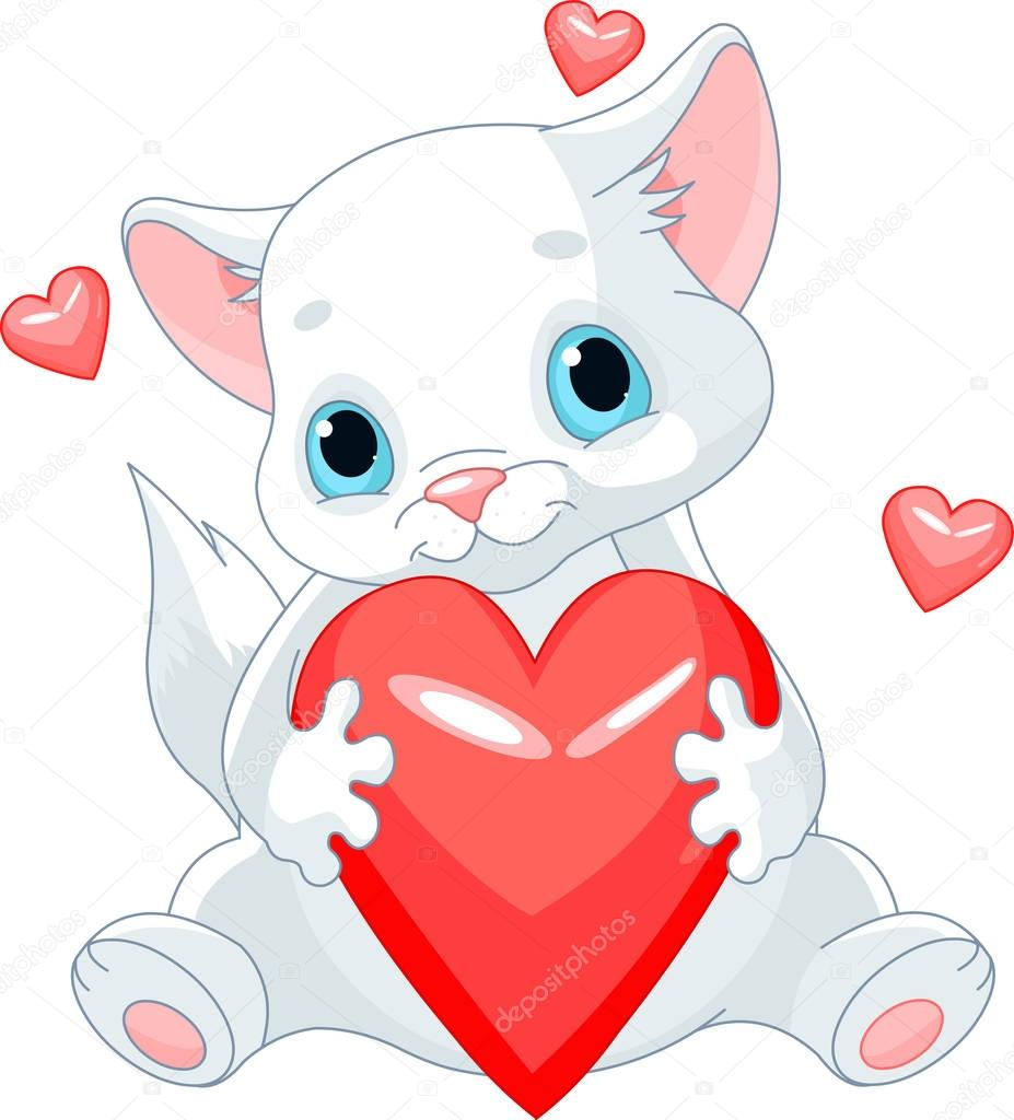 Открытка сердечки и котики