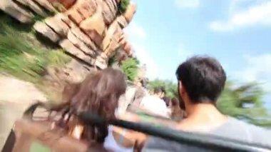 Movement on roller coaster in Frontierland of Disneyland