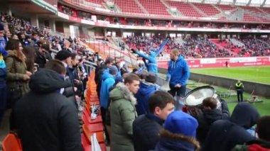 Grandstands with spectators at Locomotive stadium
