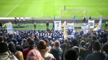 Dinamo fans on grands at stadium Locomotive