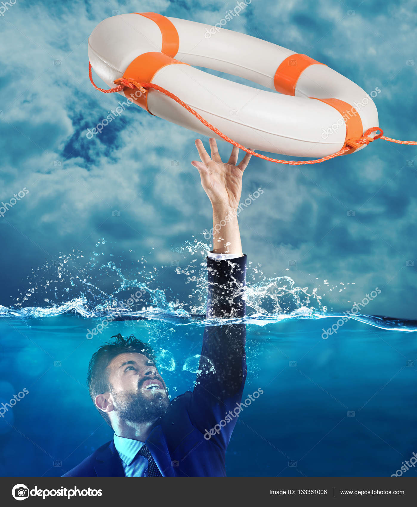 Lifesaver Launched A Drowning Man Stock Photo