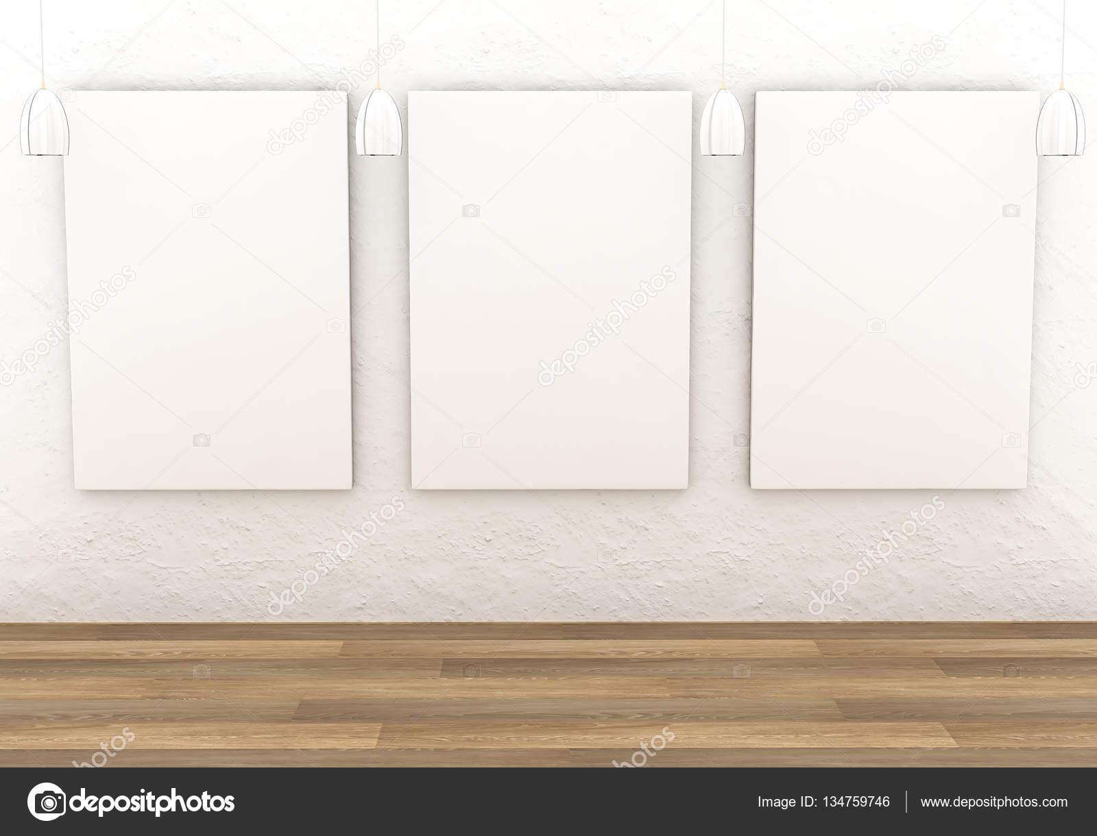 Blank canvas on wall
