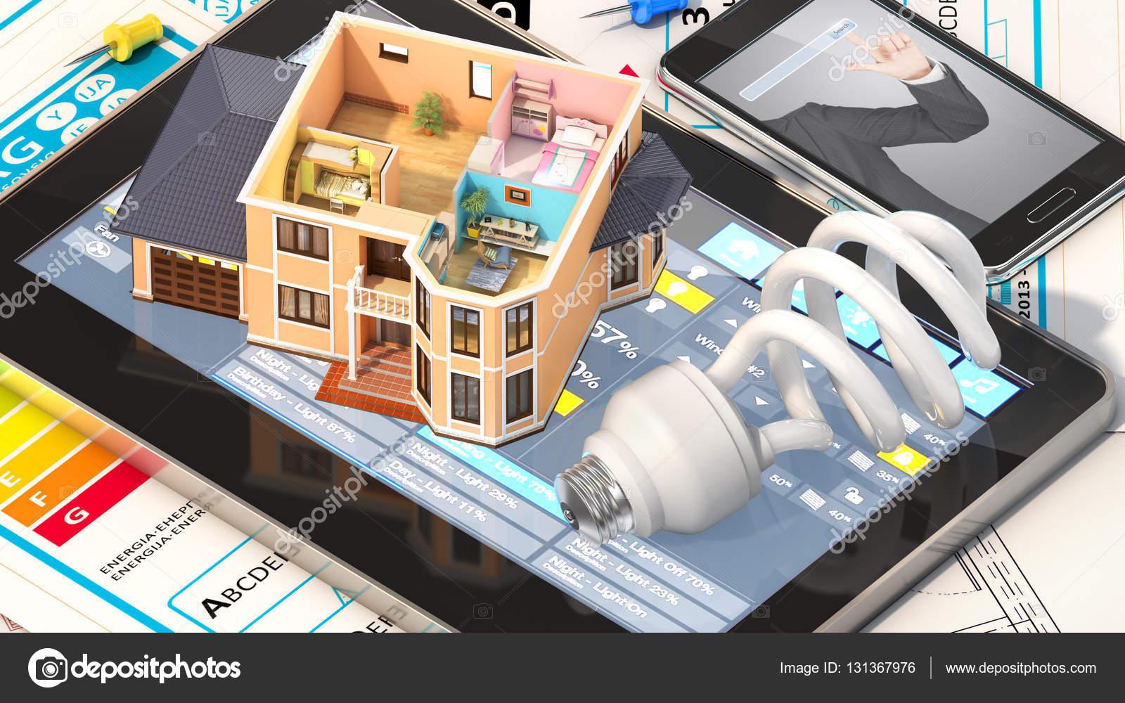 Maison dhabitation a vue où peuvent voir meublée dotées doutils sur larchitecte bleus projet dhabitation illustration 3d image de urfingus