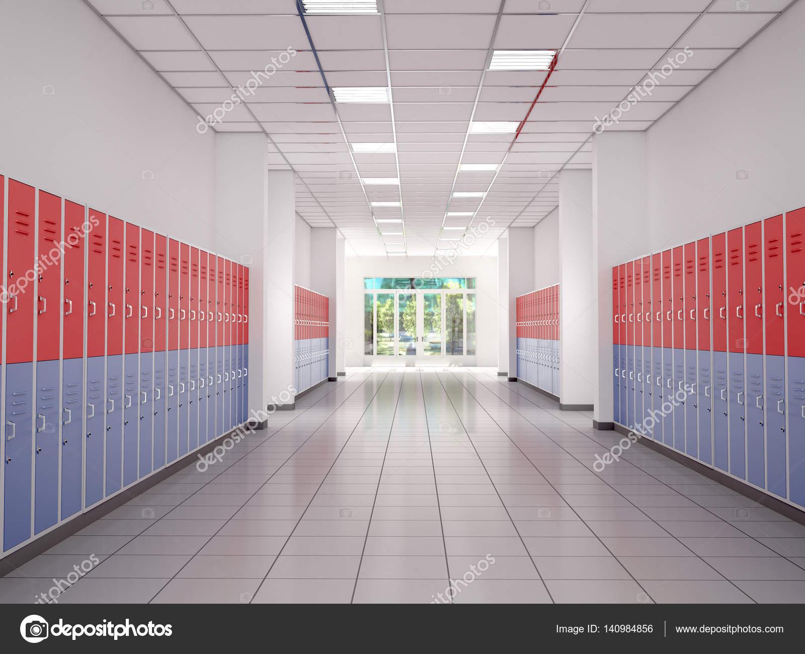 Lockers in de gang van de middelbare school 3d illustratie stockfoto urfingus 140984856 - Saint maclou tapijt van gang ...