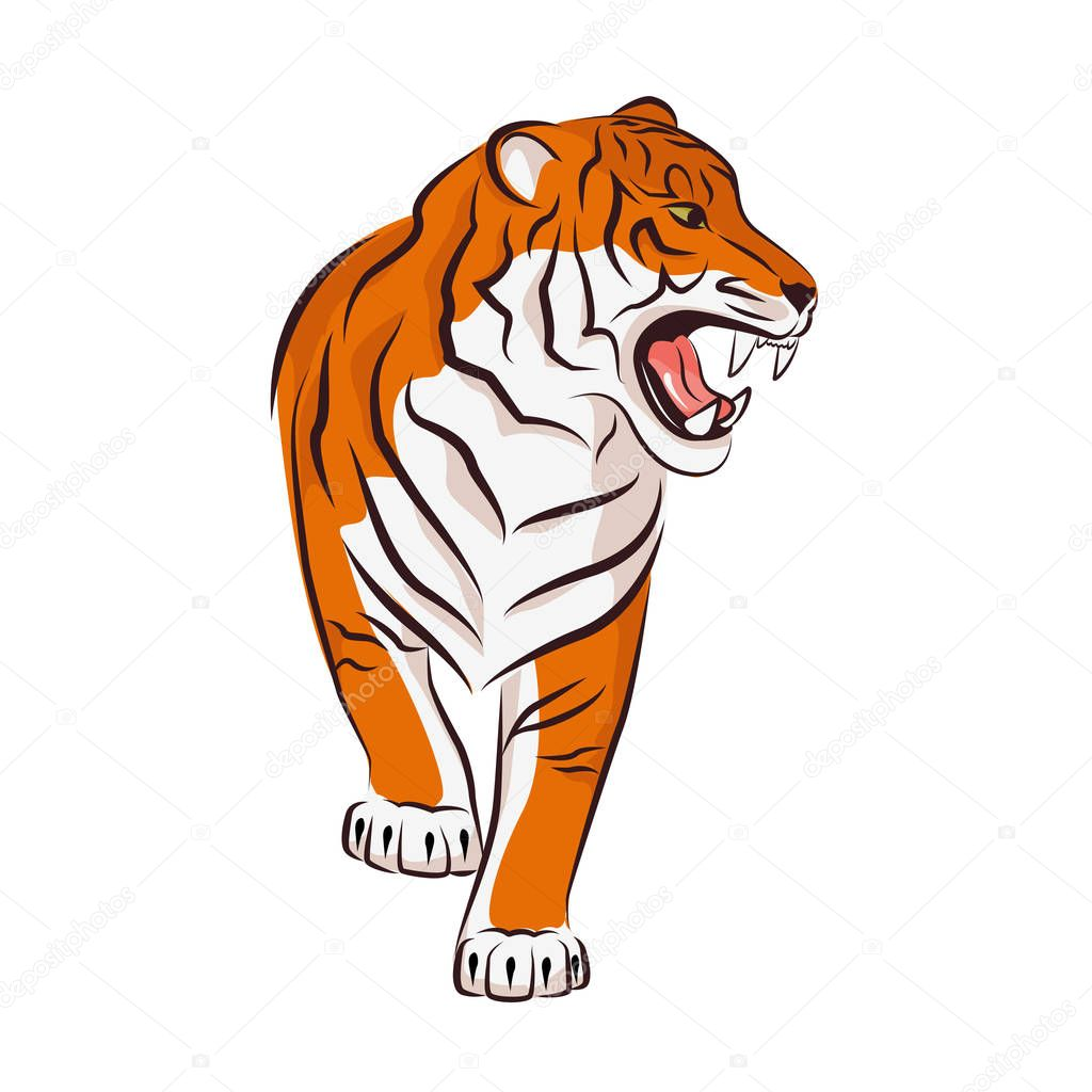Roaring tiger vector