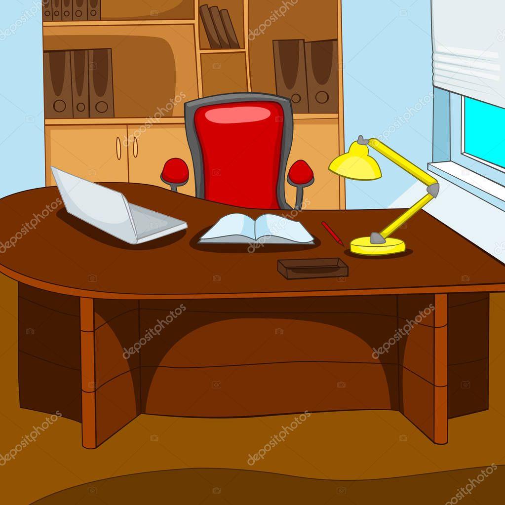 fondo de dibujos animados de lugar de trabajo en oficina