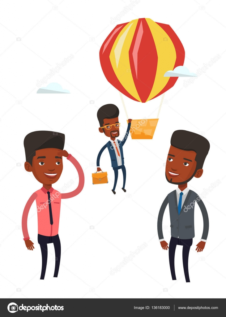 employee hanging on balloon vector illustration stock vector young smiling african employee flying away in a balloon hardworking employee hanging on a hot air balloon happy employee got promoted