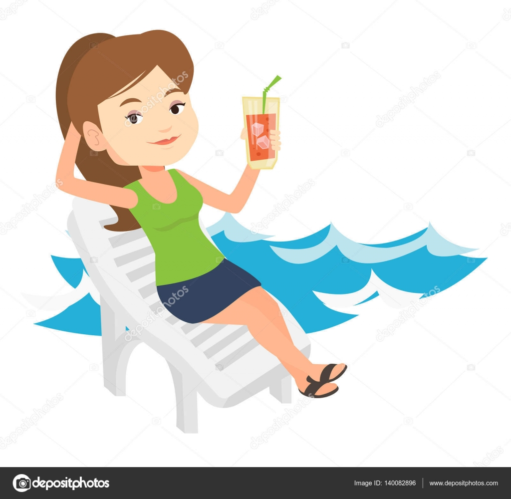 Woman relaxing on beach chair vector illustration. — Stock ...