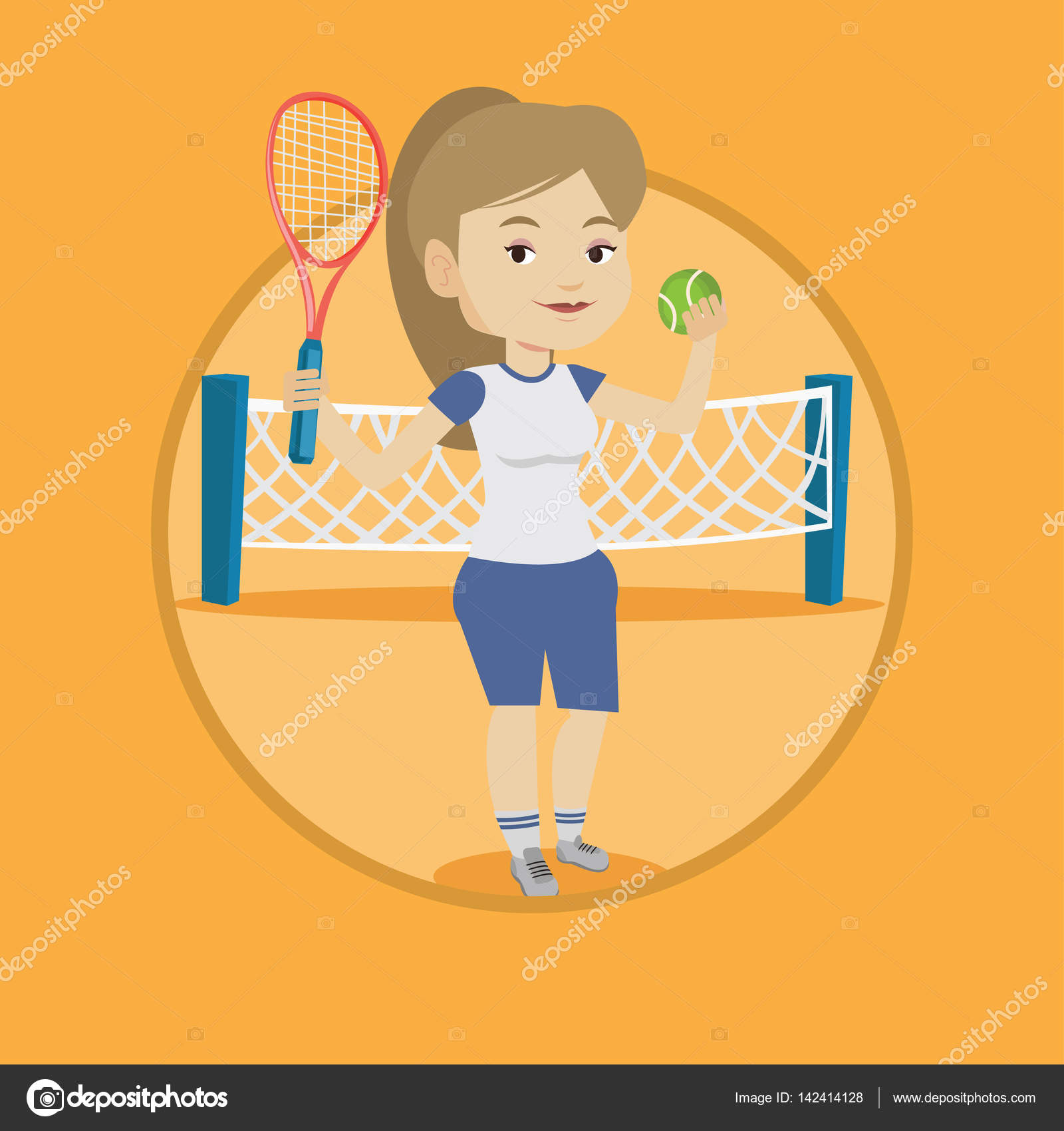 Tenis pelota stock de ilustracion ilustracion libre de stock de - Cauc Sica Deportista Jugando Al Tenis Sonriente El Jugador Parado En La Cancha Jugador De Tenis Con Una Raqueta Y Una Pelota Ilustraci N De Dise O Plano