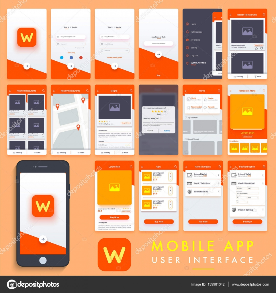 Home Design App Free Download: Mobile App User Interface Template Kit.
