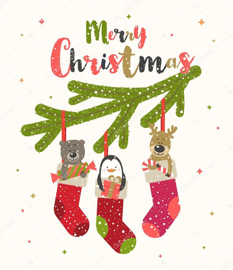 Рождественские открытки вектор 67