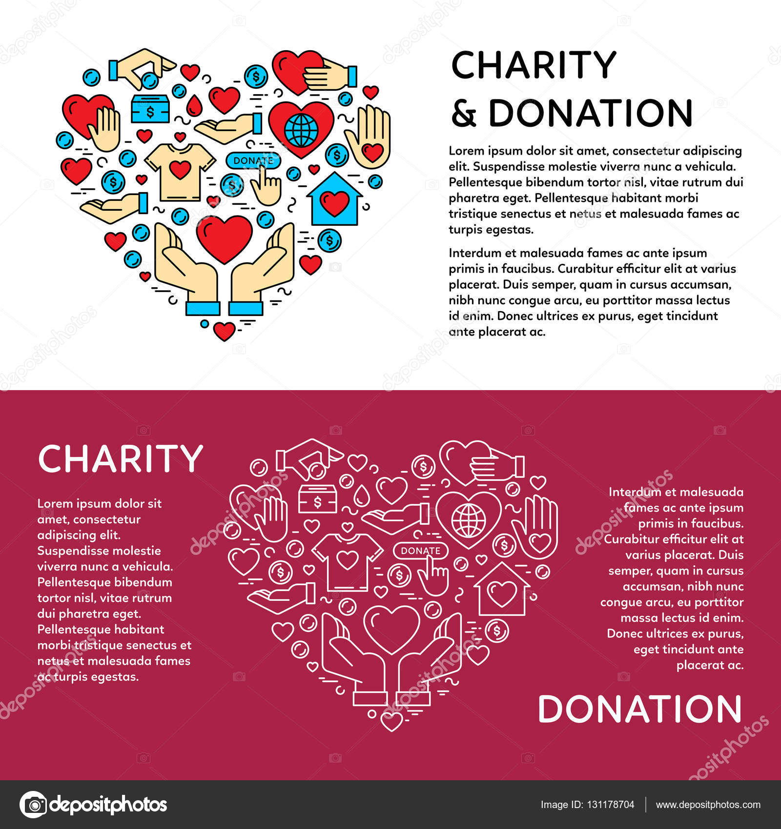 charity and donation banner template stock vector copy sokolfly charity and donation banner design template vector graphic flat icon elements set in heart form card flyer poster illustration your text for