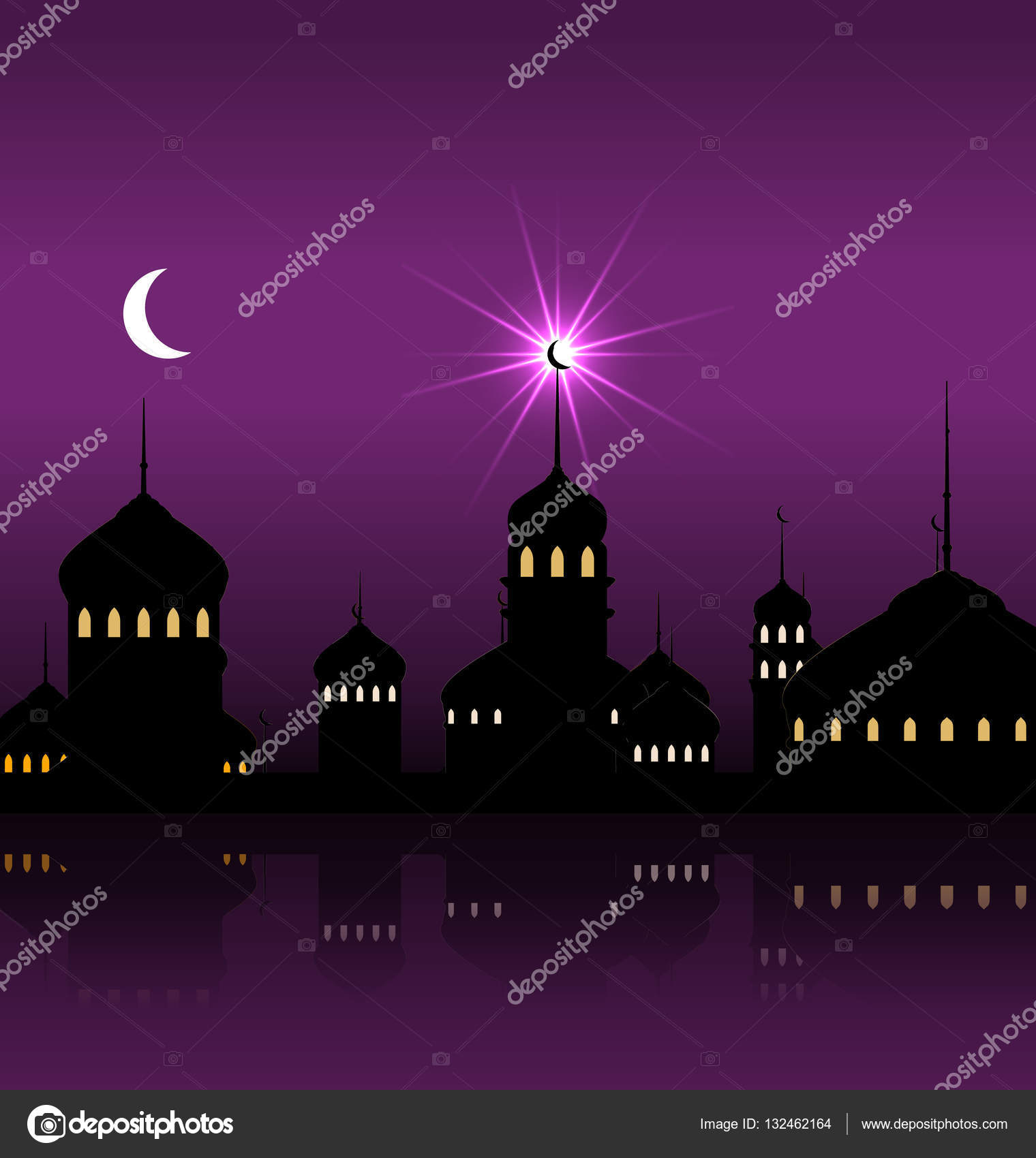 Mosque background for ramadan kareem stock photography image - Ramadan Kareem Night Background With Silhouette Mosque And Minarets Stock Photo 132462164