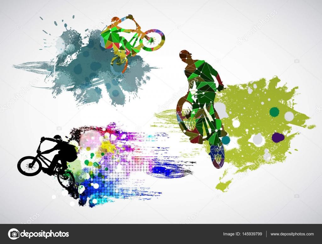自行车运动员矢量图– 图库插图
