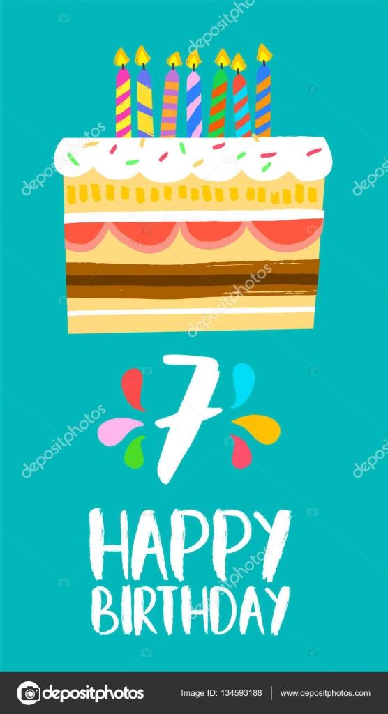 Gelukkige Verjaardag Taart Kaart Voor 7 Zeven Jaar Partij