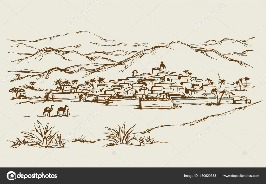 Ville dans un d sert dessin vectoriel image vectorielle 130620338 for Dessin ville orientale