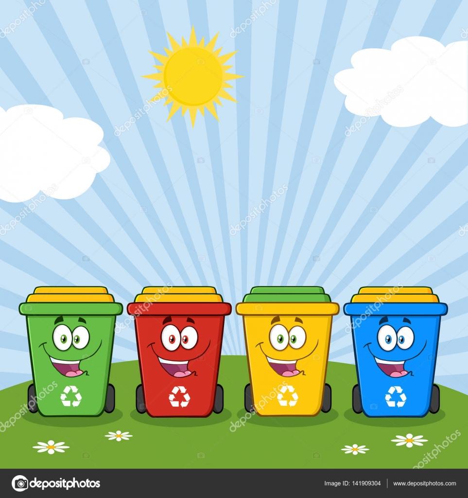 Cuatro color reciclar contenedores de dibujos animados - Contenedores de reciclar ...