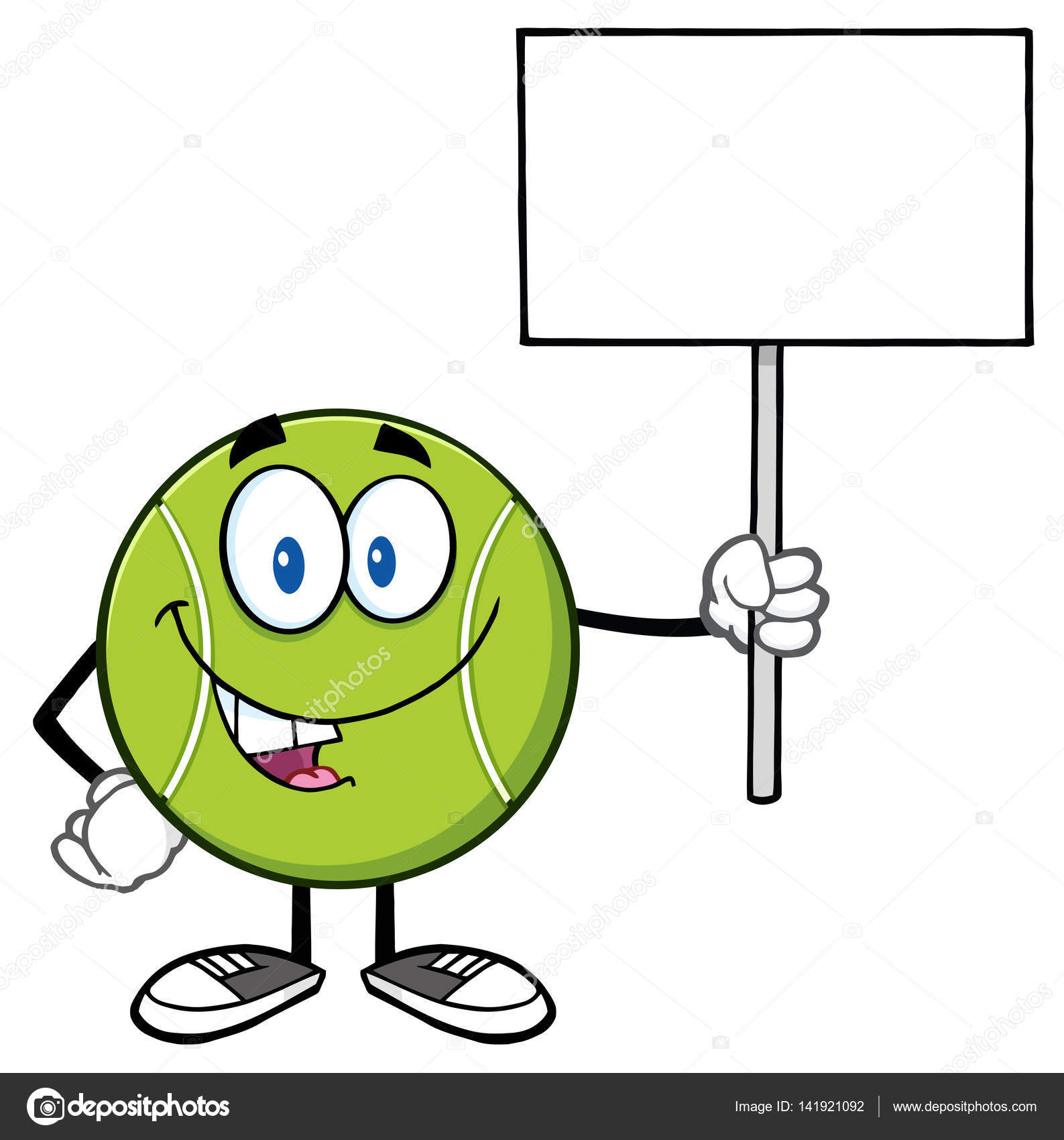Tenis pelota stock de ilustracion ilustracion libre de stock de - Mascota De Dibujos Animados De Bola De Tenis Vector De Stock 141921092