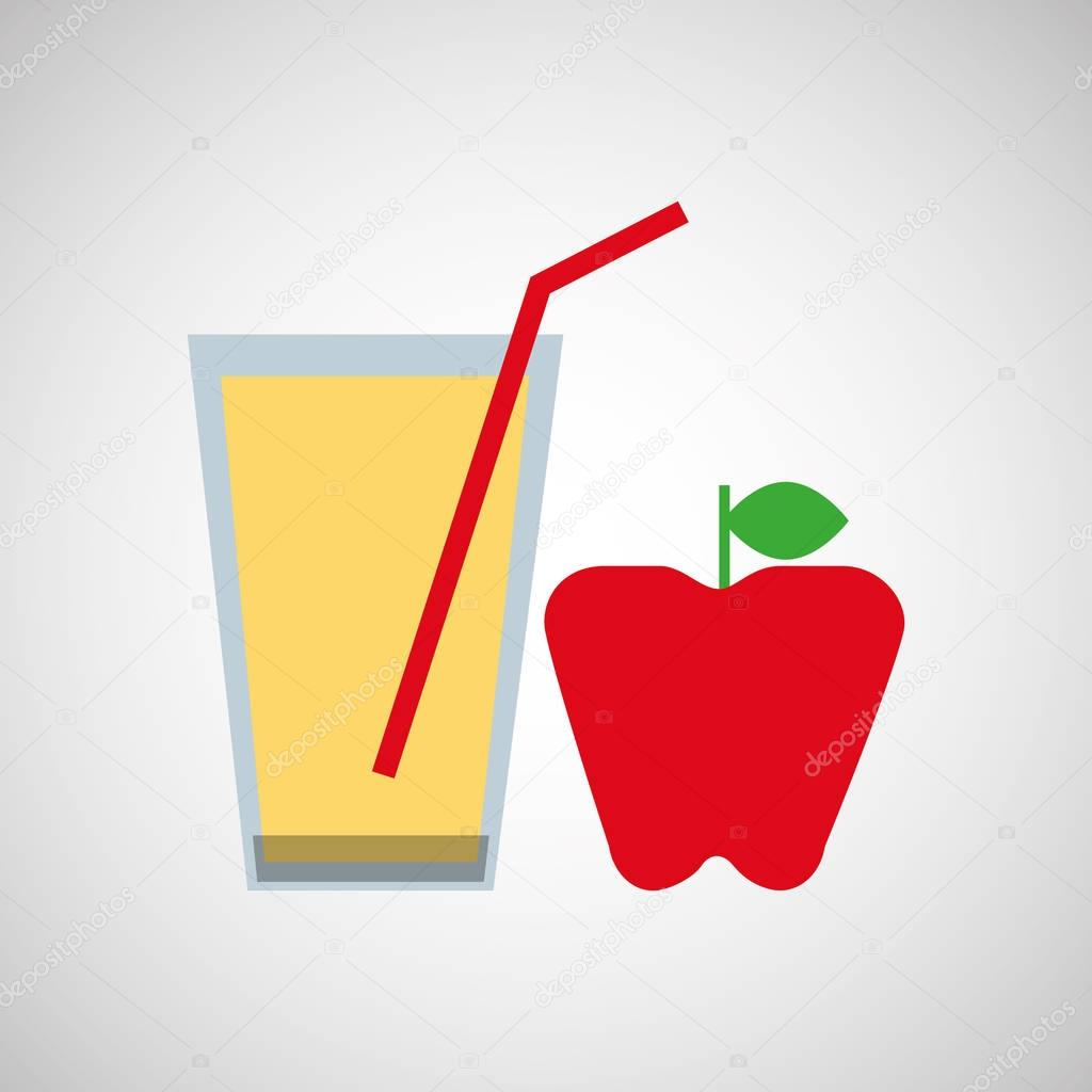Glass juice cups design - Fresh Juice Apple And Cup Glass Straw Design Stock Vector 129009436