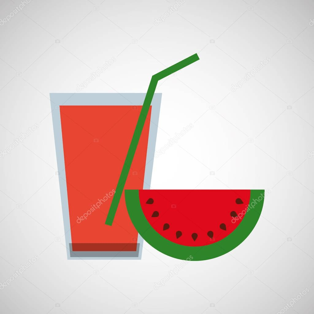 Glass juice cups design - Fresh Juice Watermelon And Cup Glass Straw Design Stock Vector 129009450