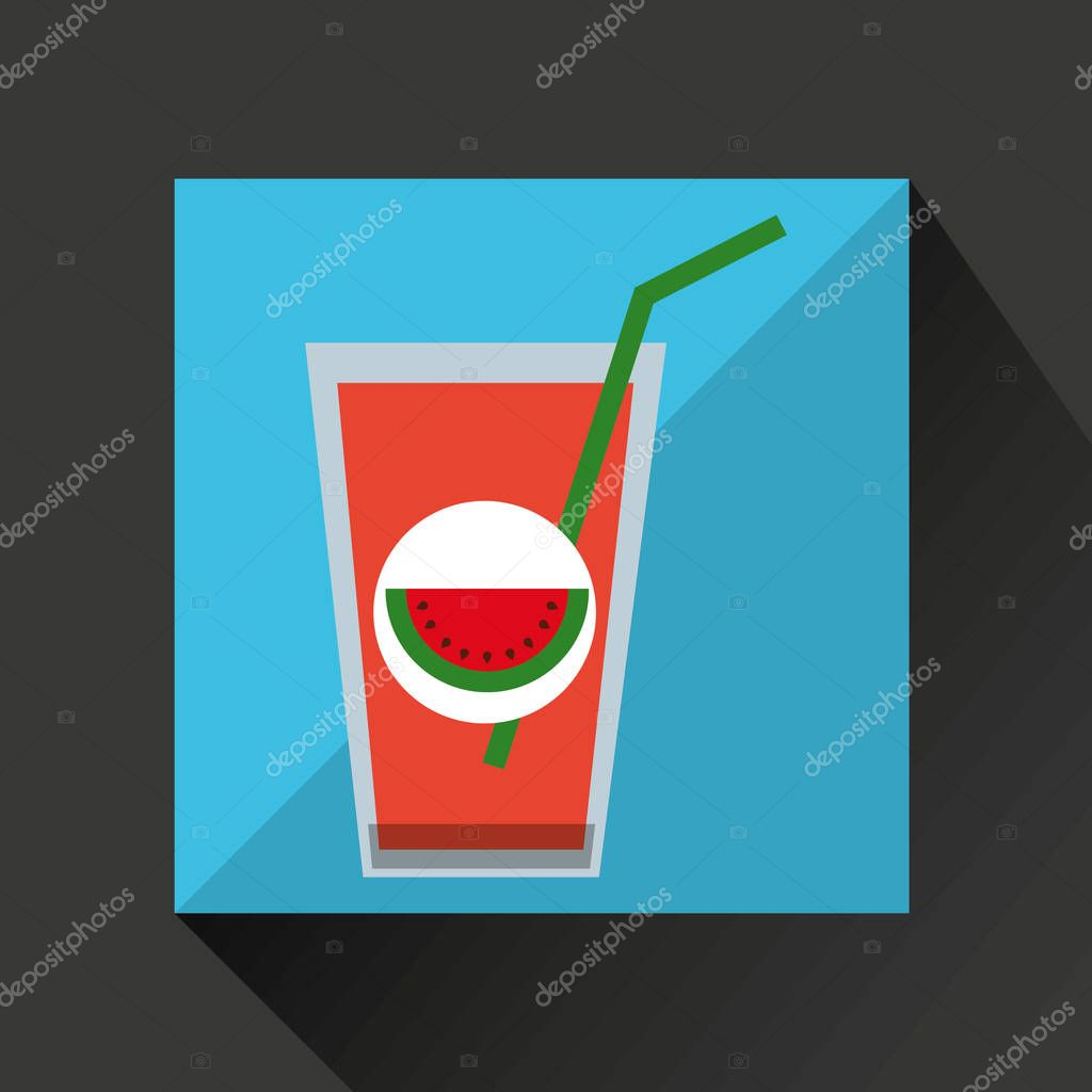 Glass juice cups design - Fresh Juice Watermelon And Cup Glass Straw Design Stock Vector 129010136