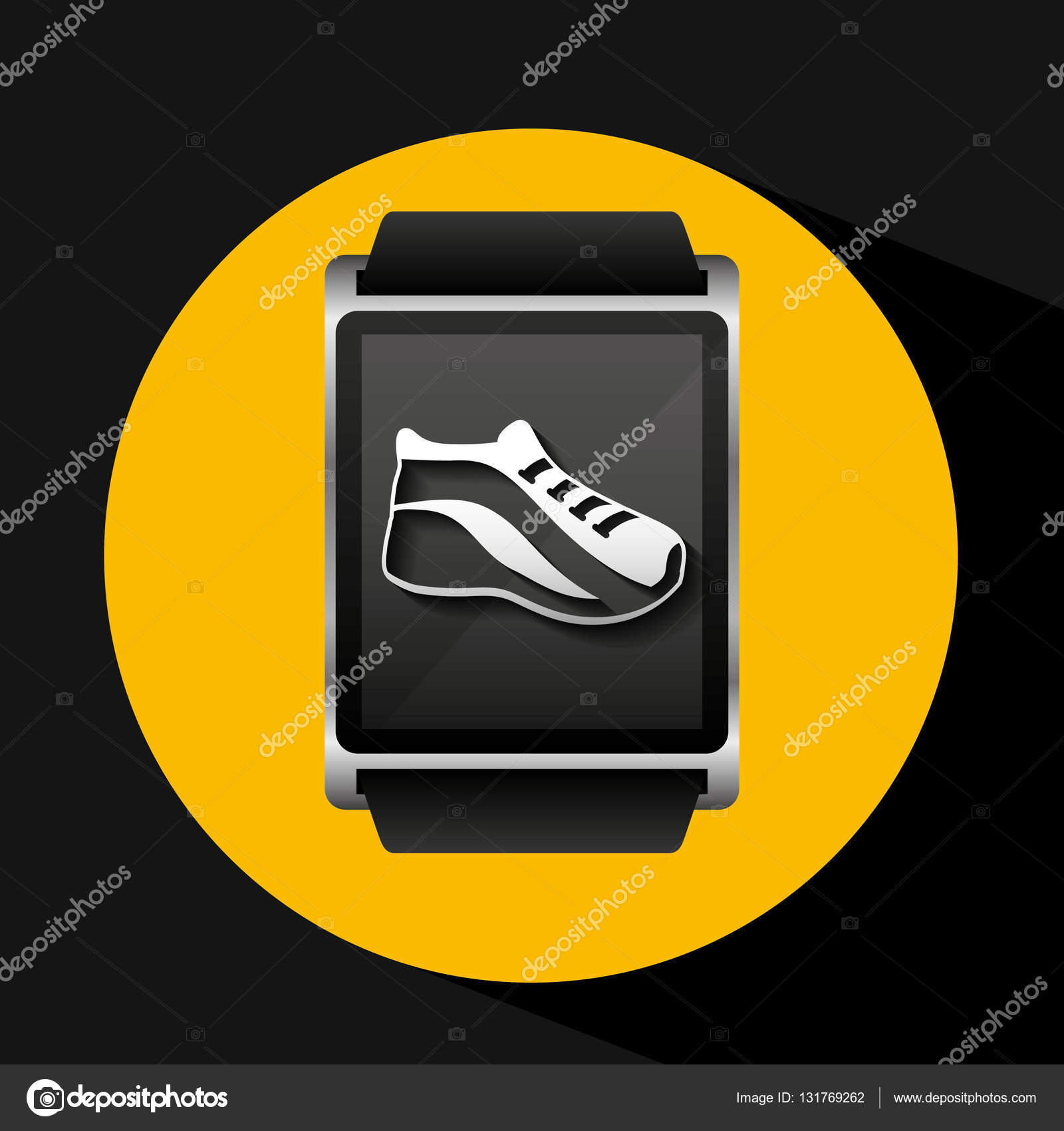 智能手表概念鞋运行社交媒体矢量图 eps 10– 图库插图