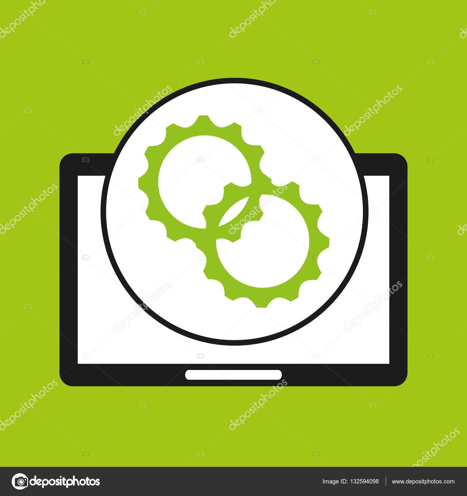 手捧平板电脑设置技术图标矢量图 eps 10– 图库插图