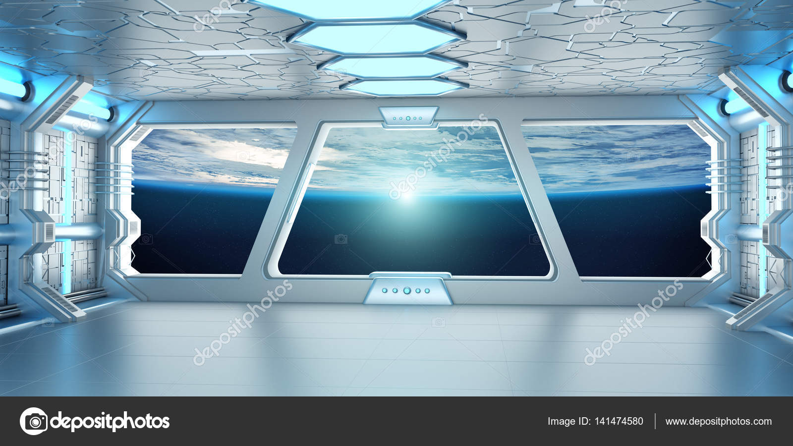 Int rieur du vaisseau spatial avec vue sur la plan te terre el de rendu 3d - Interieur vaisseau spatial ...