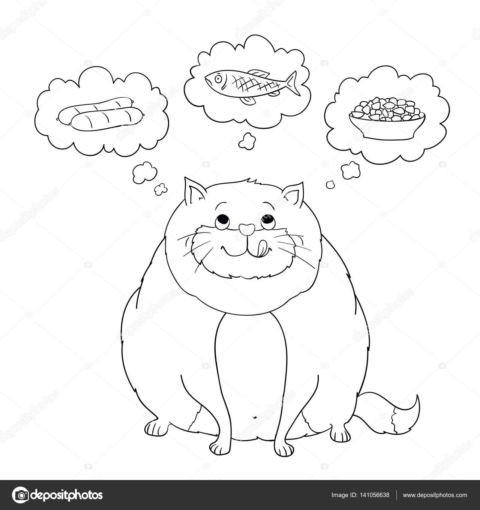 Ausmalbilder Wurst: Komik Karikatür şişman Kedi Sosis, Balık, Gıda Hakkında
