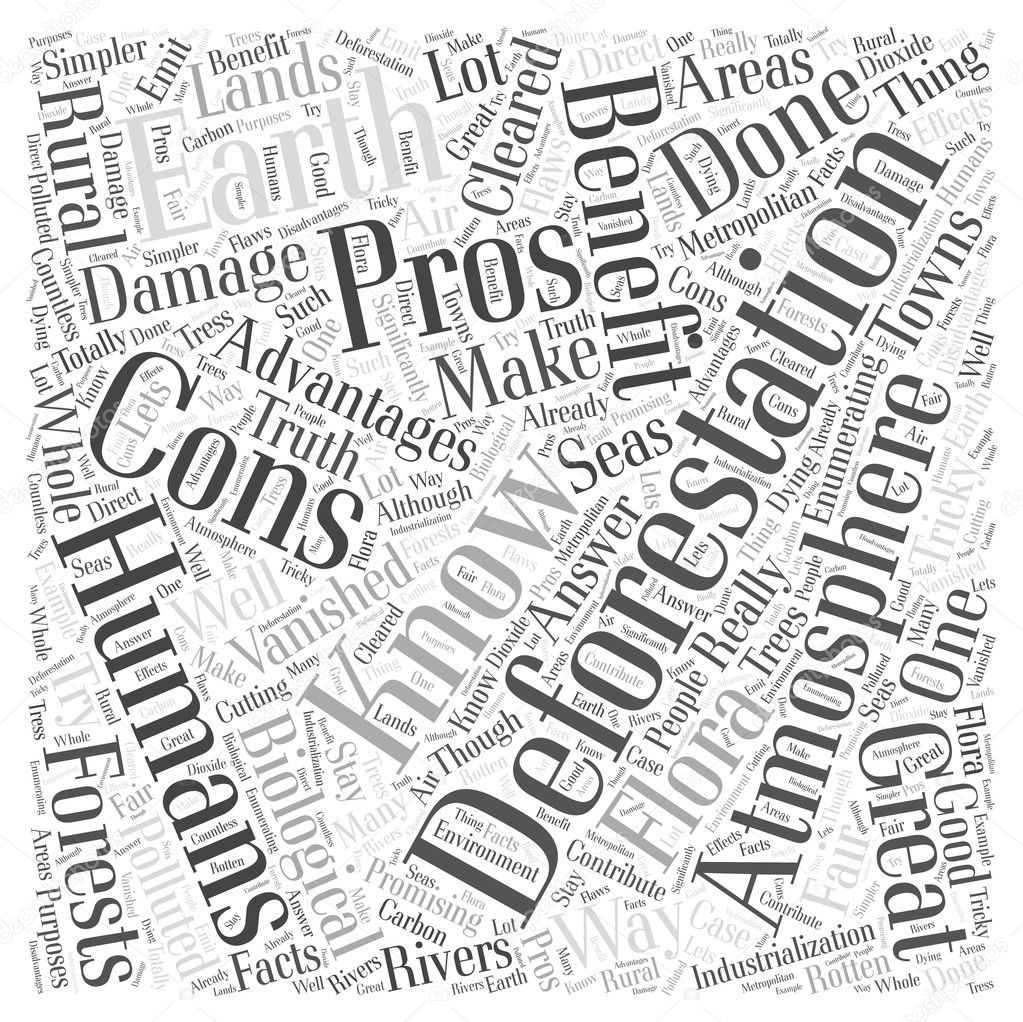 The Pros And Cons of Deforestation word cloud concept — Stock ...