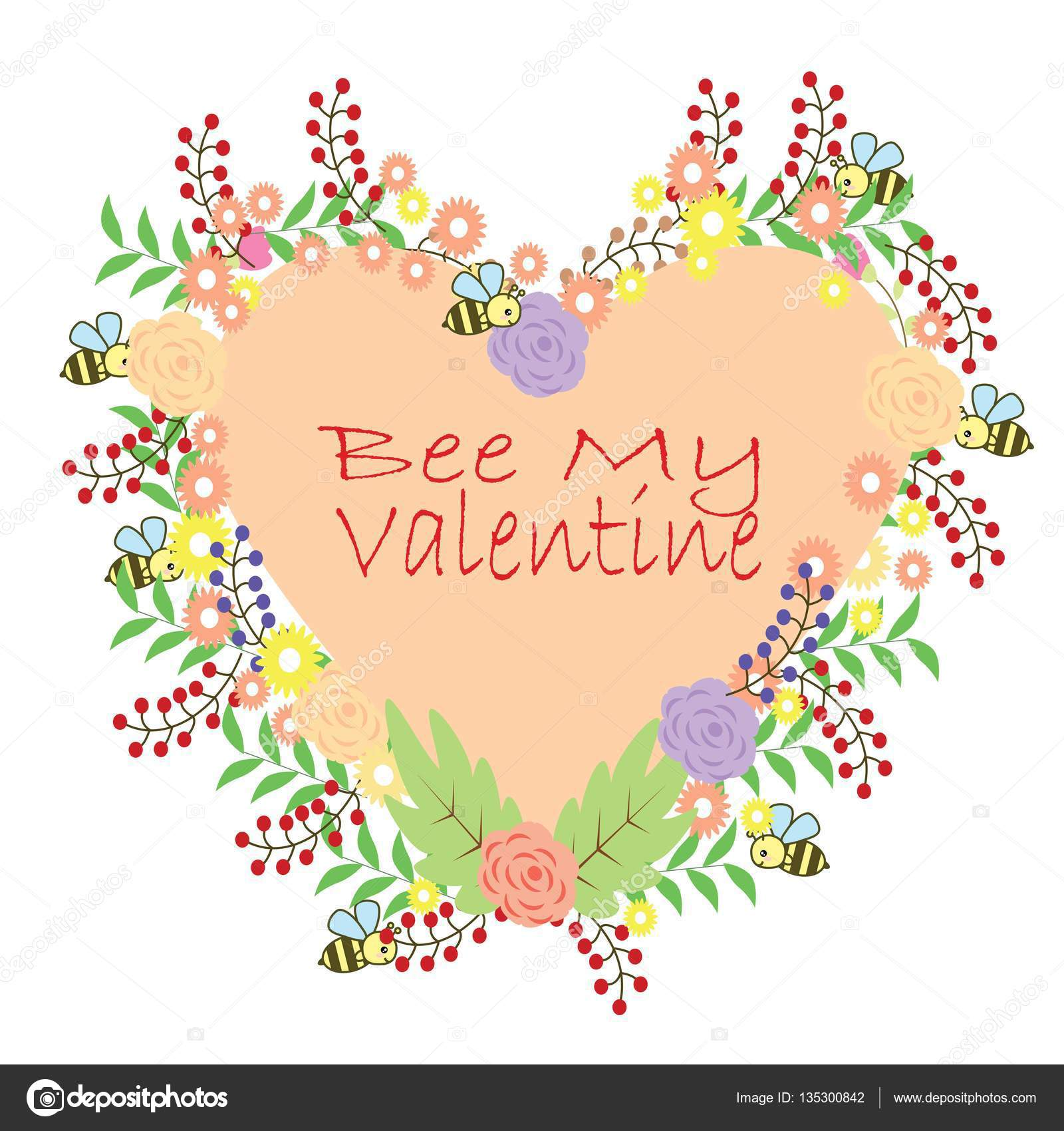 Bee My Valentine Vector widewi87 135300842 – Bee My Valentine Card