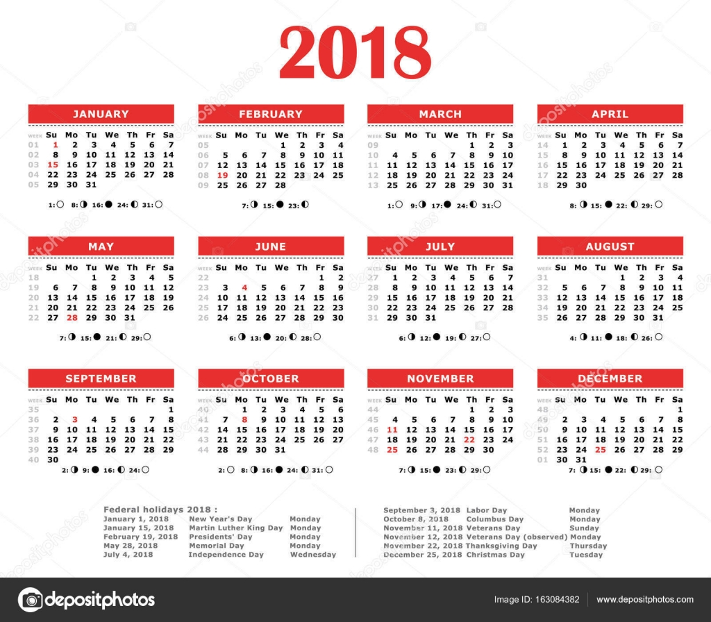 2018 Red yearly calendar. Federal holidays, moon and numbers of ...