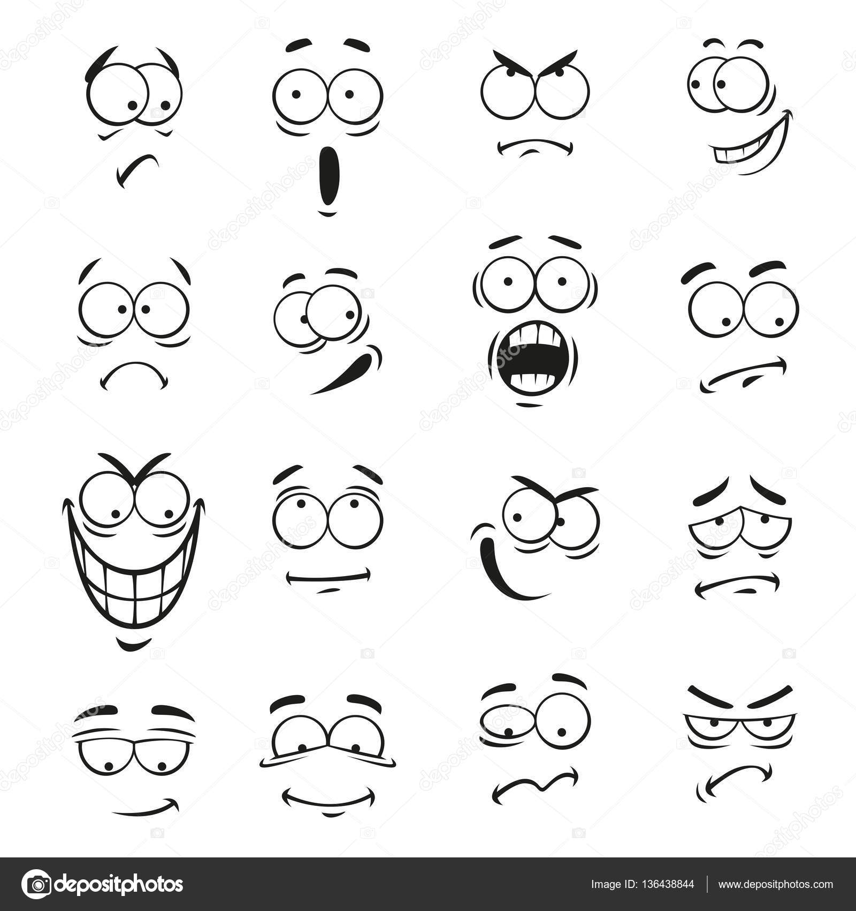 Dessin anim humain motic ne visages avec des expressions - Dessin avec emoticone ...