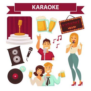 Karaoke club party icons