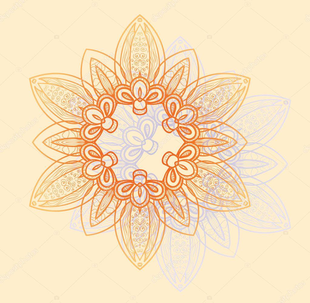 上橙色和淡紫色的花朵明亮圆形花纹 - originoo锐景