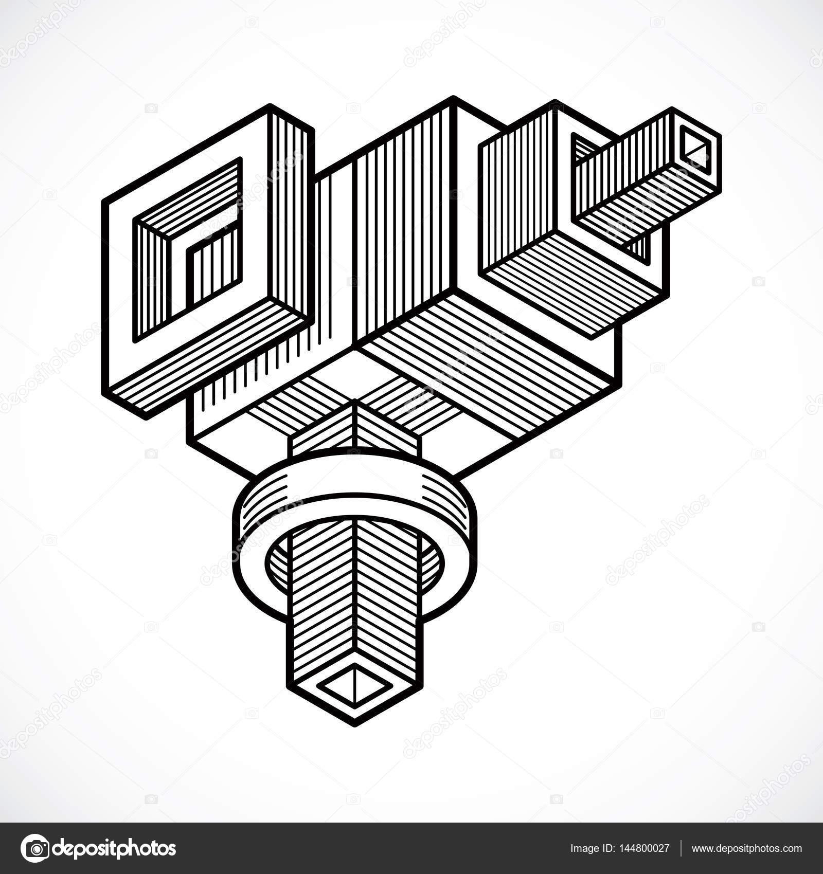 3d 设计,抽象矢量三维立方体形状– 图库插图