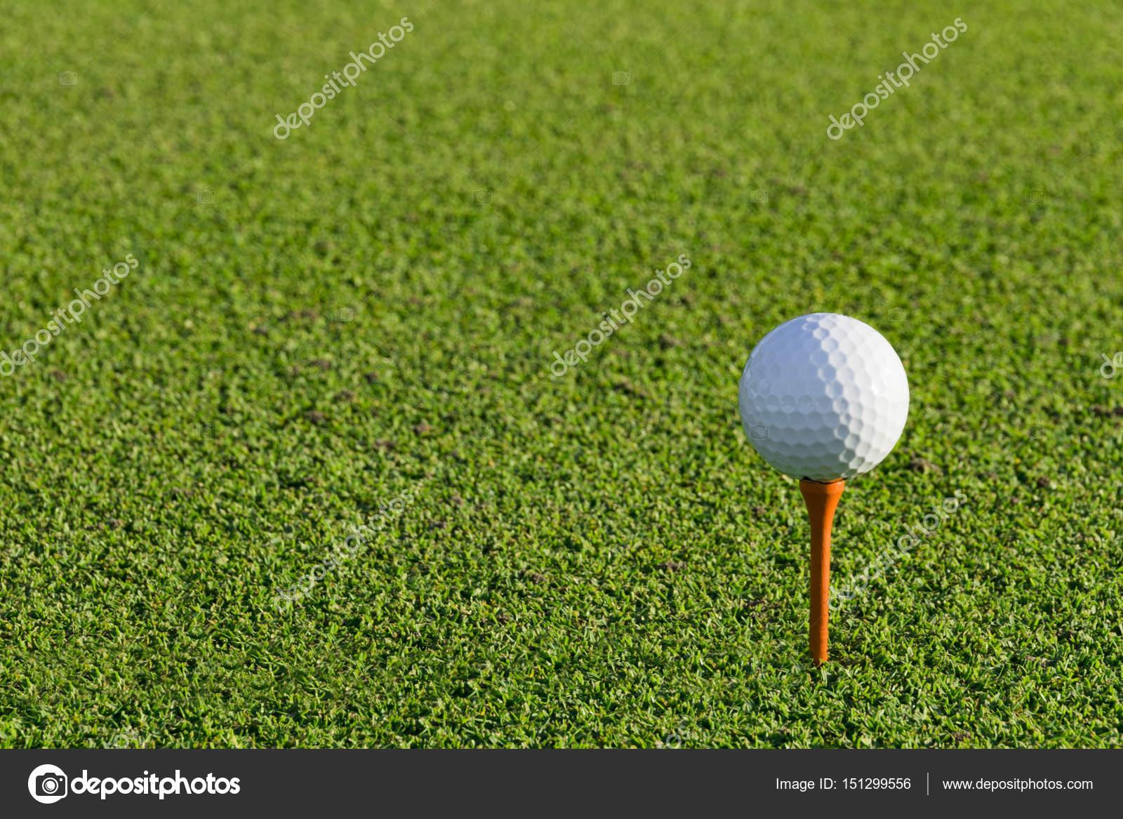 在模糊的绿色高尔夫球 tee 高尔夫球球