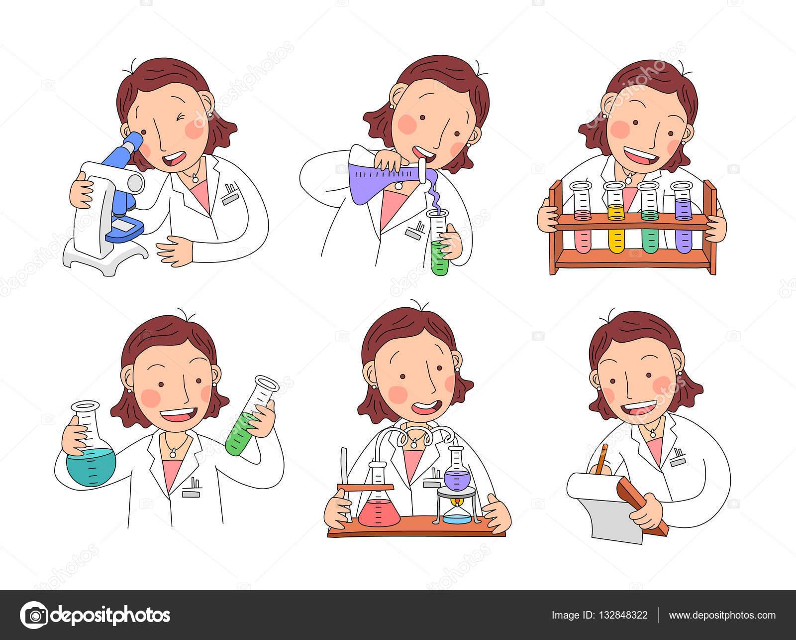 Personajes De Científico De La Mujer En El Trabajo