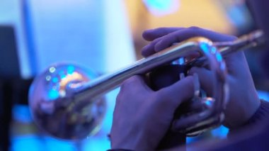 Hands of professional musician playing musical instrument at concert or party