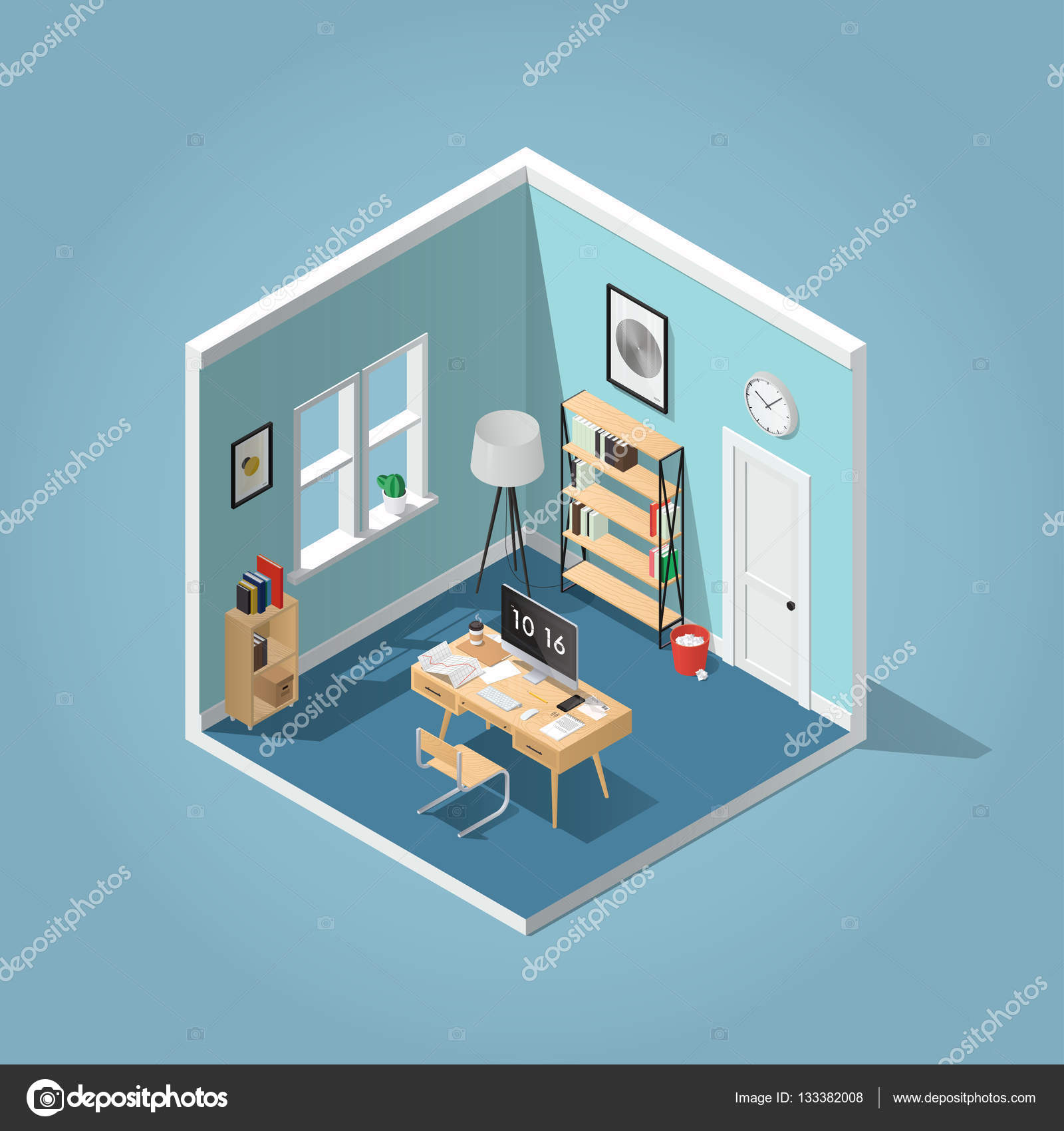 Download - Isometric home office — Stock Illustration #133382008