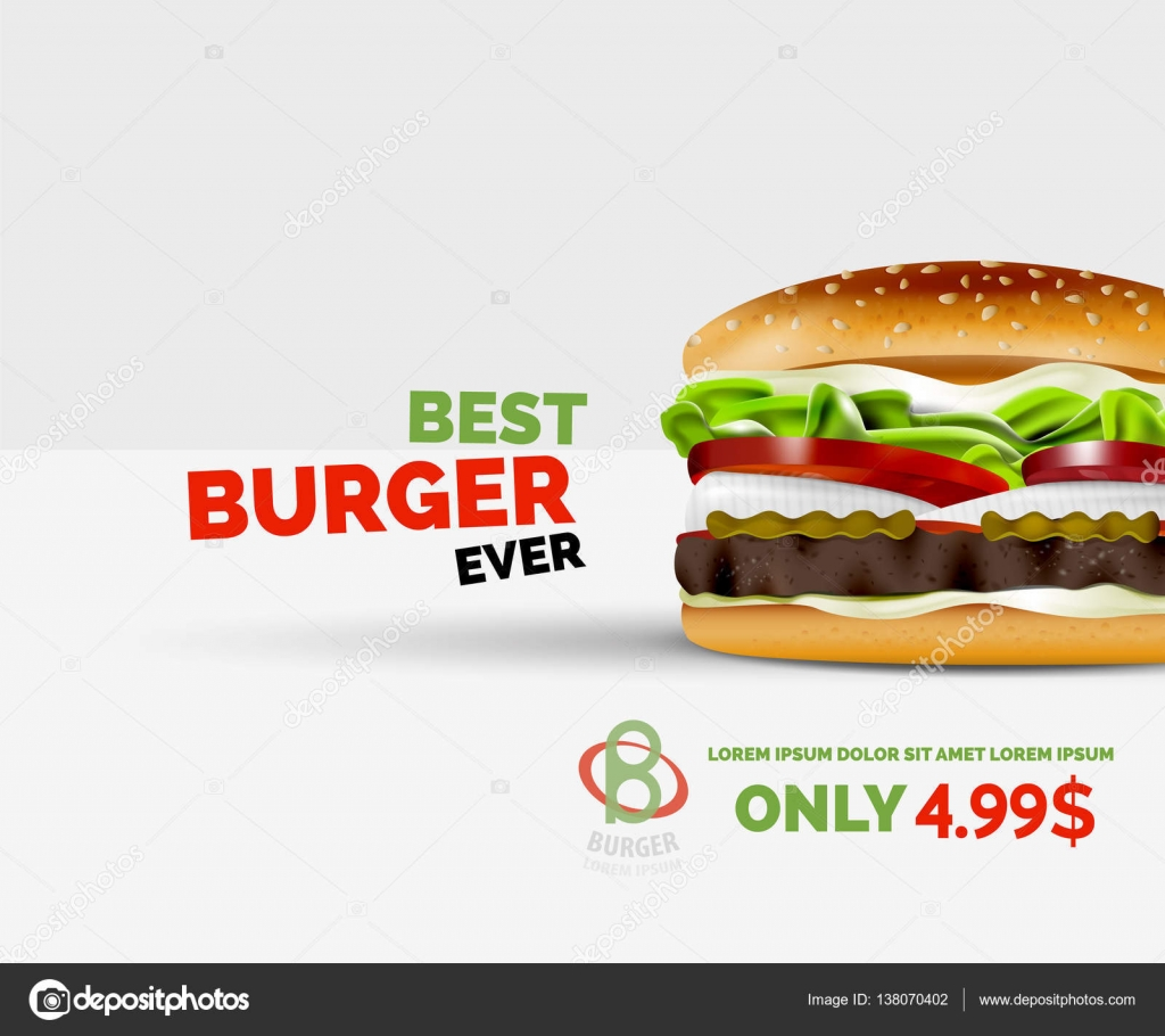 vector premium burger ad template stock vector copy akomov  vector premium burger ad template stock vector 138070402