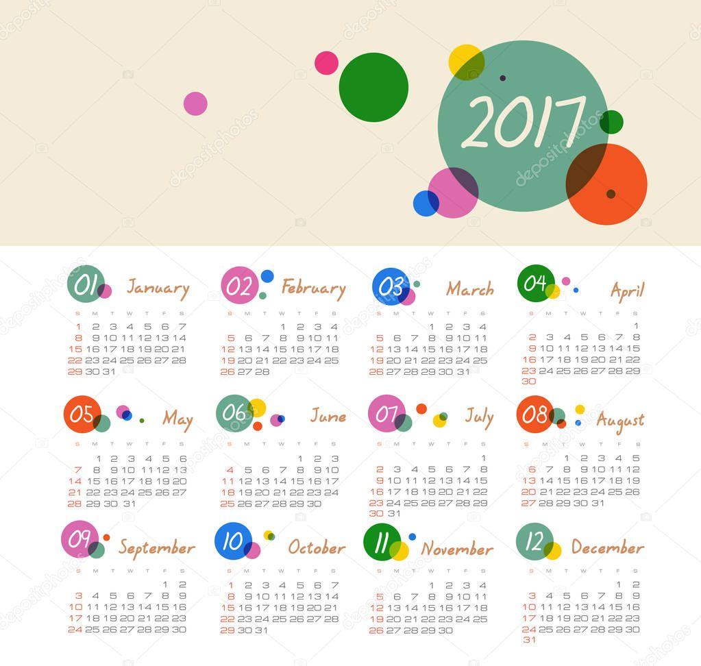Векторный календарь 2017