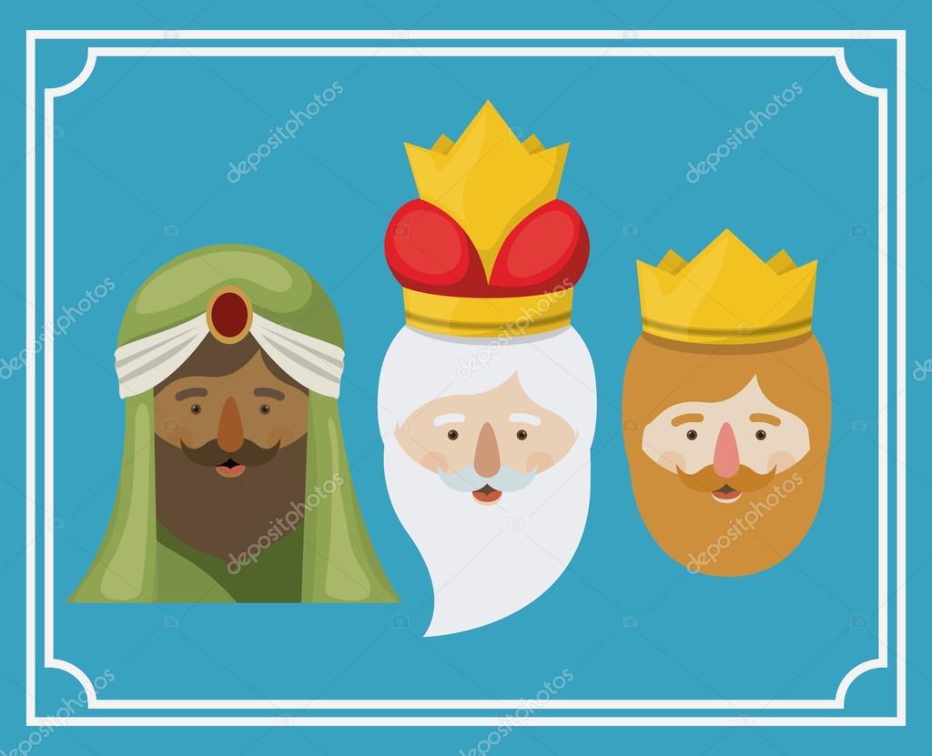 Dibujos Animados De Los Reyes Magos. Dibujo Para Colorear