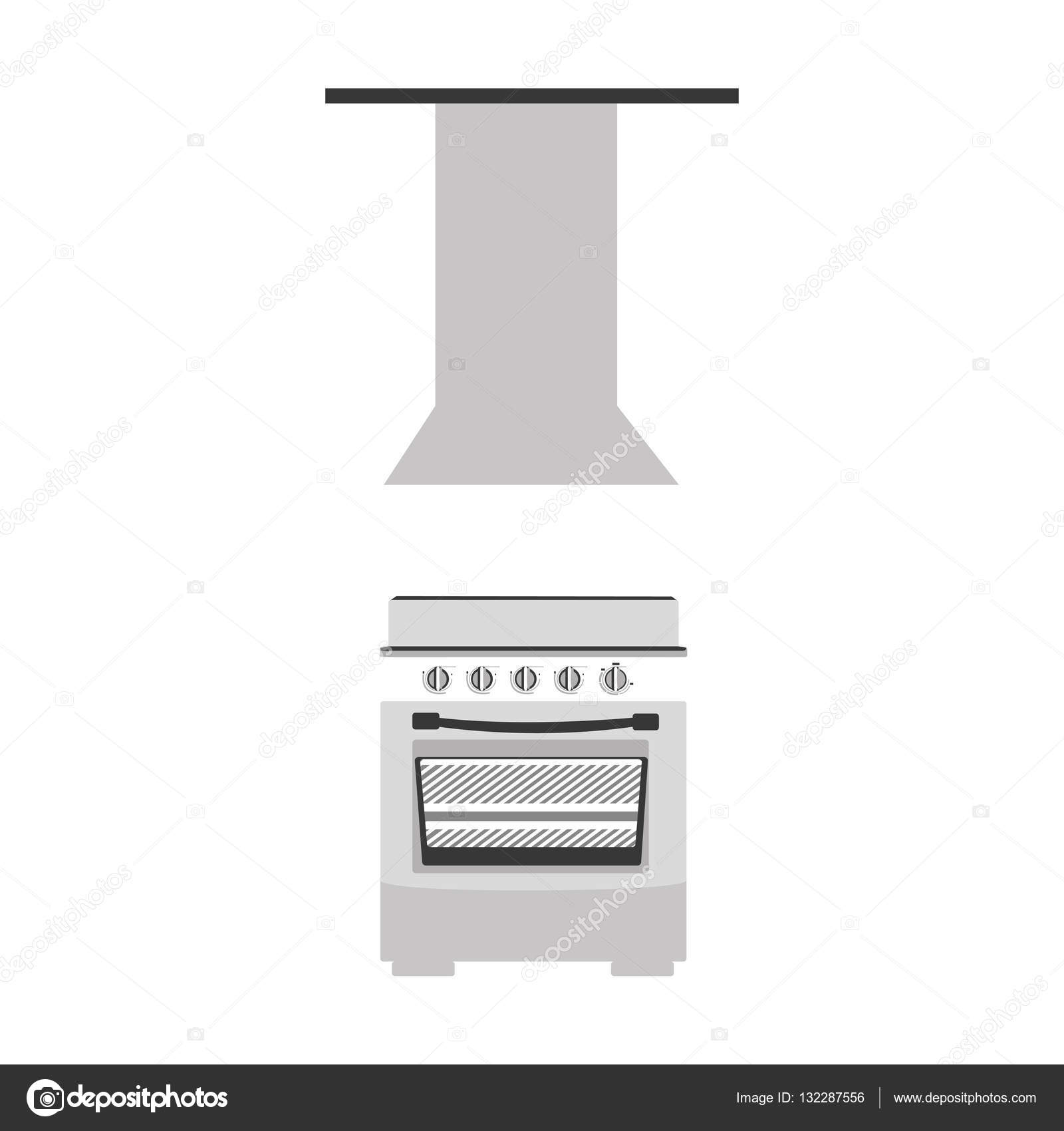 silueta de escala de grises con la estufa con campana extractora u vector de stock