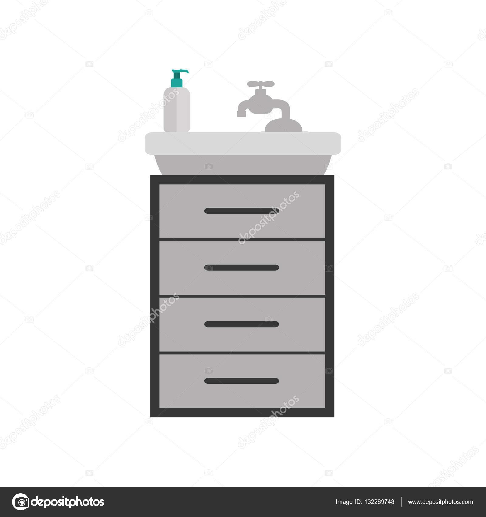 grijstinten silhouet wastafel met klein meubilair stockvector